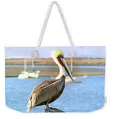 Shy Brown Pelican Weekender Tote Bag by Haleh Mahbod