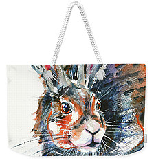 Weekender Tote Bag featuring the painting Shy Hare by Zaira Dzhaubaeva