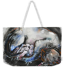 Weekender Tote Bag featuring the painting Siamese Cat With Kittens by Zaira Dzhaubaeva