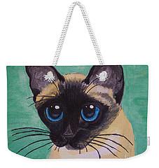 Weekender Tote Bag featuring the painting Siamese by Leslie Allen