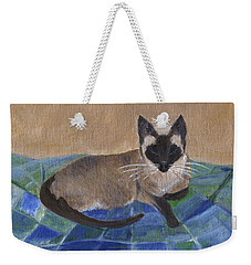 Weekender Tote Bag featuring the painting Siamese Nap by Jamie Frier