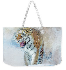 Weekender Tote Bag featuring the digital art Siberian Tiger In Snow by Brian Tarr