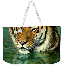 Siberian Tiger Reflection Wildlife Rescue Weekender Tote Bag by Dave Welling