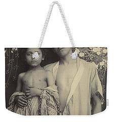 Weekender Tote Bag featuring the painting Sicilian Boy And Girl Before Floral Textile by Artistic Panda