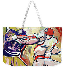 Weekender Tote Bag featuring the painting Side Arm Uga by John Jr Gholson