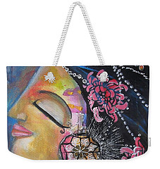 Weekender Tote Bag featuring the painting Side Face With Words by Prerna Poojara