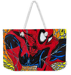 Spider-man Illustration Edition Weekender Tote Bag by Justin Moore