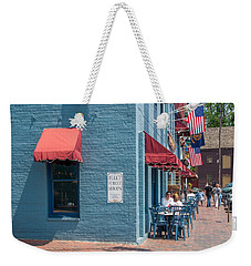Weekender Tote Bag featuring the photograph Sidewalk Cafe Annapolis by Charles Kraus