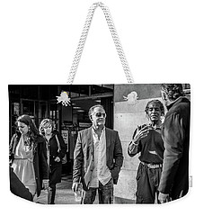Weekender Tote Bag featuring the photograph Sidewalk Circulation by David Sutton