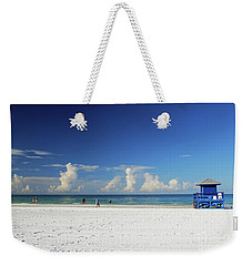 Weekender Tote Bag featuring the photograph Siesta Key Life Guard Shack by Gary Wonning