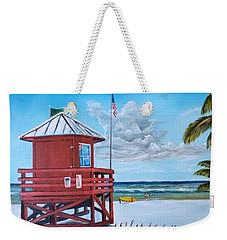 Siesta Key Red Lifeguard Shack Weekender Tote Bag