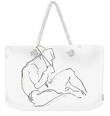 Weekender Tote Bag featuring the drawing Siesta - Male Nude by Carolyn Weltman