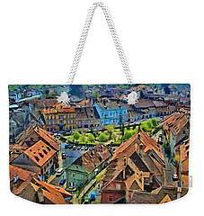 Weekender Tote Bag featuring the painting Sighisoara From Above by Jeff Kolker