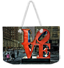 Weekender Tote Bag featuring the photograph Sights In New York City - Love Statue by Walt Foegelle