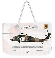 Weekender Tote Bag featuring the digital art Sikorsky Uh-60 Blackhawk by Arthur Eggers