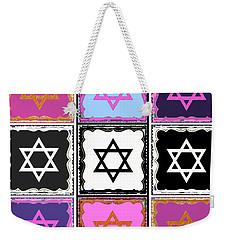Silberzweig - Judaica Modern Star Pink Weekender Tote Bag by Sandra Silberzweig
