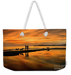 Silhouette And Amazing Sunset In Thassos Weekender Tote Bag