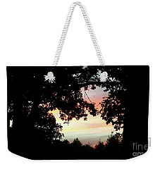 Fall Silhouette Sunset Weekender Tote Bag by Donna Brown