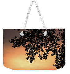 Silhouette Tree In The Dawn Sky Weekender Tote Bag by Jingjits Photography