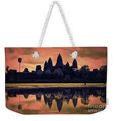 Silhouettes Angkor Wat Cambodia Mixed Media  Weekender Tote Bag