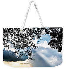 Weekender Tote Bag featuring the photograph Silhouettes At The Overlook by Shelby Young