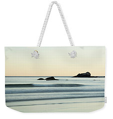 Silky Water And Rocks On The Rhode Island Coast Weekender Tote Bag by Nancy De Flon