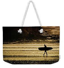 Sillhouette Of Surfer Walking On Rossnowlagh Beach, Ireland  Weekender Tote Bag