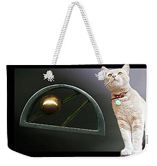 Cat, Silver And Gold  Brooch Weekender Tote Bag