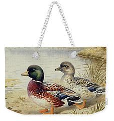 Silver Call Ducks Weekender Tote Bag by Carl Donner