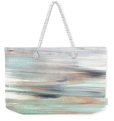 Silver Coast #25 Silver Teal Landscape Original Fine Art Acrylic On Canvas Weekender Tote Bag
