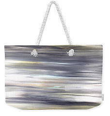Silver Coast #26 Silver Teal Landscape Original Fine Art Acrylic On Canvas Weekender Tote Bag