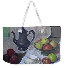 Silver Coffeepot, Apples, Green Footed Bowl, Teacup, Saucer Weekender Tote Bag