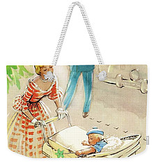 Weekender Tote Bag featuring the digital art Silver Cross Baby Coach by Reinvintaged