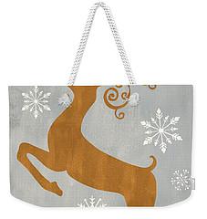 Silver Gold Reindeer Weekender Tote Bag
