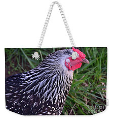 Weekender Tote Bag featuring the photograph Silver Laced Wyandotte by Mark McReynolds