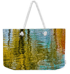 Silver Lake Autum Tree Reflections Weekender Tote Bag by Michael Bessler