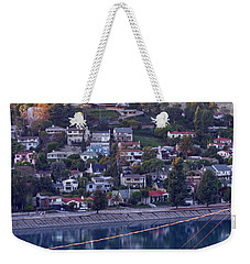 Silver Lake Reservoir With Griffith Observatory And Hollywood Sign Weekender Tote Bag