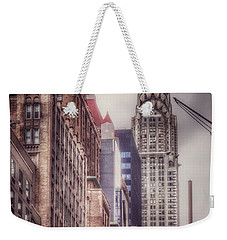 Weekender Tote Bag featuring the photograph Silver Majesty - Chrysler Building New York by Miriam Danar
