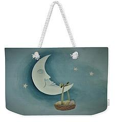 Silver Moon With Picnic Basket Weekender Tote Bag