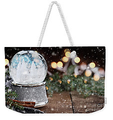 Silver Snow Globe With White Christmas Trees Weekender Tote Bag by Stephanie Frey