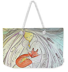 Weekender Tote Bag featuring the painting Silver Threads by Gioia Albano