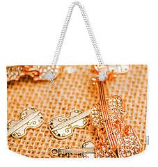 Silver Violin Pendant With Diamonds Weekender Tote Bag