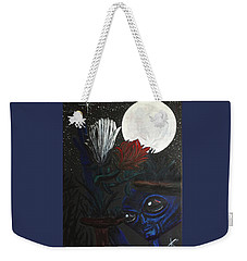 Weekender Tote Bag featuring the painting Similar Alien Appreciates Flowers By The Light Of The Full Moon. by Similar Alien
