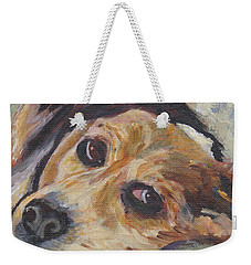 Weekender Tote Bag featuring the painting simonClydemcflyMcCue by Patricia Cleasby