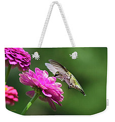 Weekender Tote Bag featuring the photograph Simple Pleasure Hummingbird Delight by Christina Rollo