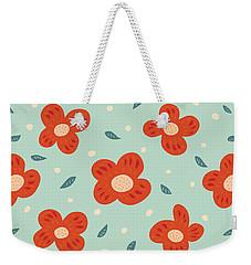 Simple Pretty Orange Flowers Pattern Weekender Tote Bag