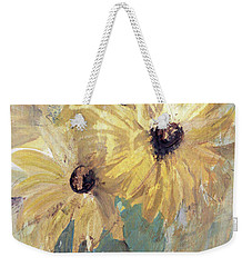 Weekender Tote Bag featuring the painting Simply Sunflowers  by Robin Maria Pedrero