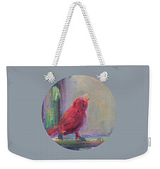 Weekender Tote Bag featuring the painting Sing Little Bird by Mary Wolf