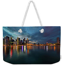 Singapore City Skyline At Evening Twilight Weekender Tote Bag