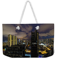 Singapore Cityscape On A Cloudy Night Weekender Tote Bag